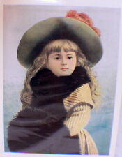 """Victorian Lithograph Print Picture """"It'S Cold Outside"""" Girl With Hat & Muff"""