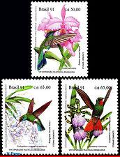 2335-37 BRAZIL 1991 PREVENTION FOREST,ORCHIDS, HUMMINGBIRDS,BIRDS,MI# 2435-7,MNH