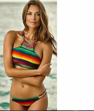 NWT PilyQ Maya women size M MDEDIUM REVERSE GEMINI TEENY STRIPE BIKINI BOTTOMS