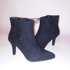 Rue21 Womens Boots Booties Black Small 6/7 Suede Feel Side Zip