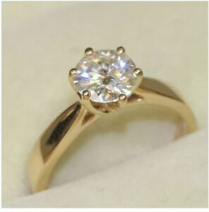 2.00 Ct Round Cut Diamond Engagement Ring 18K Solid Yellow Gold Size N O P S