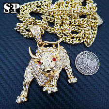 """Iced Out Gold Plated Big Bulls Pendant & 6mm 30"""" Cuban Chain Hip Hop Necklace"""