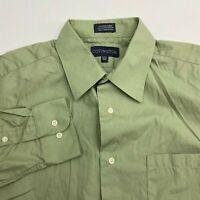 Covington Button Up Dress Shirt Men's 15-15.5 Long Sleeve Green Cotton Blend