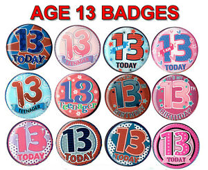 AGE 13 BIRTHDAY BADGE 15 DESIGNS for GIRL or BOY AGE 13
