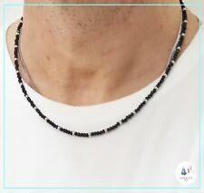 Collana da uomo donna in acciaio inox con cristalli nero catenina girocollo