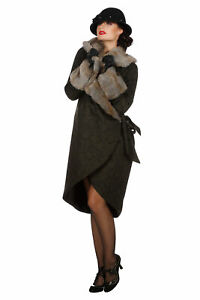 Eleganter 20er Jahre Damen Mantel mit Pelz Fell-Imitat Flapper Charleston 20`s