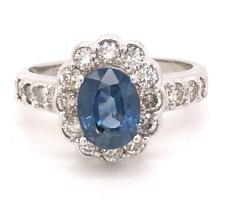 NATURAL 3.10ctw AAA CEYLON BLUE SAPPHIRE COLORLESS DIAMOND 14k GOLD HALO RING