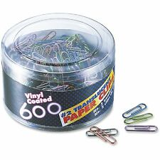 Officemate Translucent Paper Clips Vinyl Small 600/Tub BE/PE/GN/RD/SR 97211