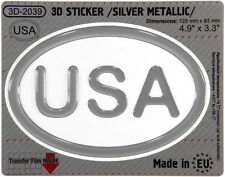 USA United States of America OVAL GEL DOME CAR STICKER Silver Resin Decal Badge
