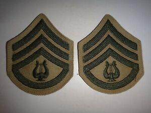 Paire De Usmc Marine Bâton Sergent E-6 Musique Bande Petit Chevrons Correctifs
