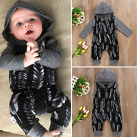 US Newborn Baby Boys Hooded Romper Jumpsuit Playsuit Outfit Clothes One-piece