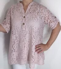 NEW Pink Lace Tunic Top & Cami Cool Floaty Soft Feel Floral Lace Long One Size