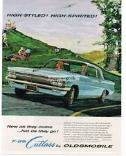 1962 OLDSMOBILE F-85 Cutlass Blue 2-door Coupe art Illustration Vtg Print Ad