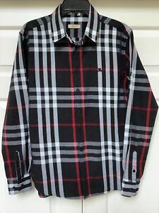 Burberry Brit 3XL Black/Gray/Red Mens Shirt