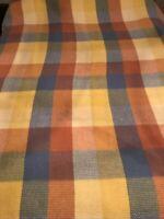 Vintage North Star Wool Pastel Plaid Blanket  80x88 Woven Weave Satin Trim