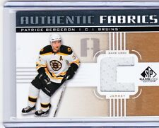 11-12 2011-12 SP GAME USED PATRICE BERGERON 'C' AUTHENTIC FABRICS JERSEY GOLD