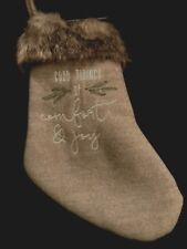 "Christmas Stocking Grey Faux Fur Holiday Machine Embroidered Plush Felt 12"" NEW"