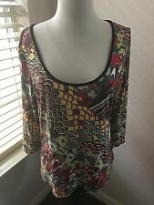 Just Cavalli Blouse Top Multi color Size XXL 3/4 Sleeve Women's Stretch