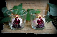 Moon Gazing Hare Glass Candle Holders  Altar Wicca Pagan Witch Luna Moon