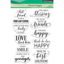 New Penny Black RUBBER STAMP clear CHOOSE HAPPY Set word stamps free USA ship