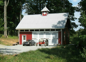 Woodberry Car Barn and Shop with Loft - 3 Complete Sets of Plans (eB-112x3)
