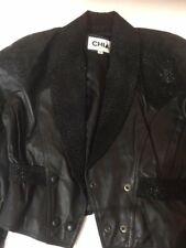 Chia vintage Small ladies leather black shawl collar raglan sleeves RARE