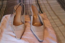GUCCI shoe beige canvas leather combination 8 B