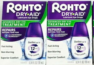 Rohto Dry Aid Lubricant Eye Drops 0.34 fl oz -2 Pack -Expiration Date 10-2021
