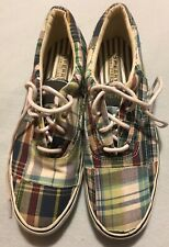 Sperry Top-Sider Plaid Multi Color Fabric Sneakers Tennis Sz 8 Us Rare
