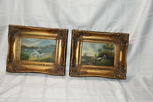 """Set OF 2 Small Oil Painting/Picture Signed Carvers Guilders England Frame 9""""x11"""""""