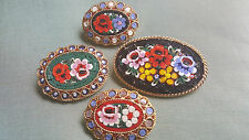 Lot 4 Vintage Italian Millefiori Tesserae Micro Mosaic Pins