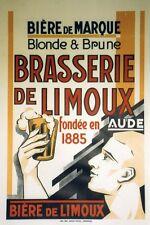 """""""BRASSERIE de LIMOUX"""" Affiche originale entoilée Litho années 30   69x103cm"""