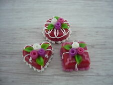 3  Mini Red Cake Rose Top Dollhouse Miniatures Food Deco Valentine Day