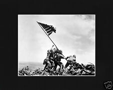 Iwo Jima Flag Raising World War 2 WWII Black Large Matted Photo Picture