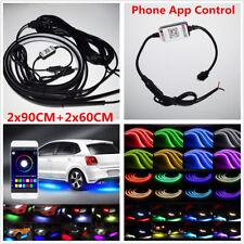 2x90cm+2x60cm RGB LED Car Underglow Underbody Light Strip Music Sound Active App