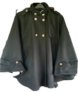 Topshop Black Cape Jacket Size 10 But Will Fit Larger Size