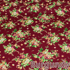 Floral linen velvet soft antique country purple roses quality weight 140 x 100cm