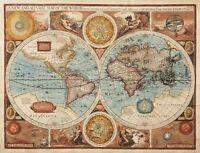"Vintage Medievil World Map 1626 CANVAS PRINT poster 24""X16"""