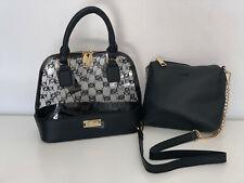 NEW BEBE JODIE CLEAR BLACK LOGO SMALL DOME SATCHEL CROSSBODY SLING BAG PURSE $89