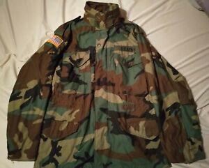 Vintage Alpha Industries Men's Army Camo M-65 Woodland Field Hunt Jacket (S)