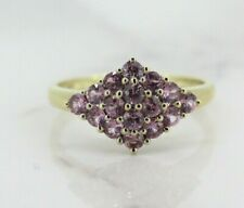 9ct Yellow Gold Pink Topaz Cluster Ring (Size M)