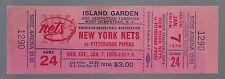 1969-70 ABA PITTSBURGH PIPERS @ NEW YORK NETS FULL UNUSED BASKETBALL TICKET