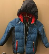 SNOZU Boy's Toddler Down Puffer Coat Winter Jacket Zip Hooded Sz 3T Fleece Lined