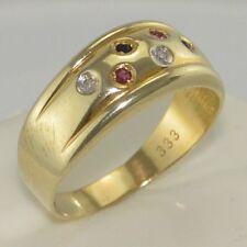 Ring m Diamantan & div. Edelsteine / 333er - 8 Karat Gold / Gr 55 (17,5 mm Ø)