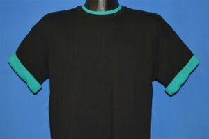 vtg 90s BLACK SOLID ROLL SLEEVES DOUBLE COLLAR GREEN CREWNECK t-shirt LARGE L