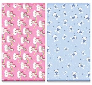 2 x Printed Cot Fitted Sheets 100% Cotton Jersey (120 x 60 cm) Unicorn / Teddy