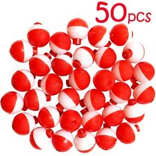 "50pcs 1"" Fishing float Snap-On Round Floats bobbers Push Button Red White NEW"