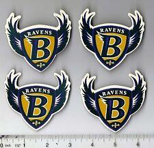 """Lot of 4 Vintage 1990s 3"""" Baltimore Ravens Refrigerator Logo Magnets Old Logo"""