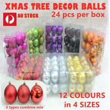 24PCS New Christmas Decorations Baubles Tree Xmas Balls Party Wedding Ornament