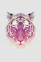 Polygonal Siberian Tiger Portrait Art Print Poster 12x18